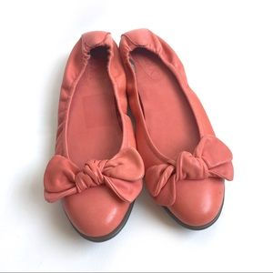 THE FLEXX Coral Pink Flats w/ Bows Size 10